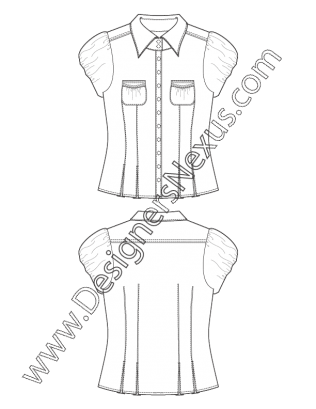 image free stock Shirt flat sketch v. Drawing ruffles pleat