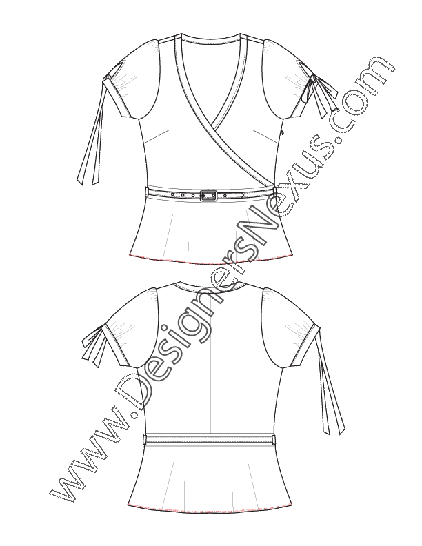 clip free download Fashion sketch belted surplice. Drawing ruffles flat