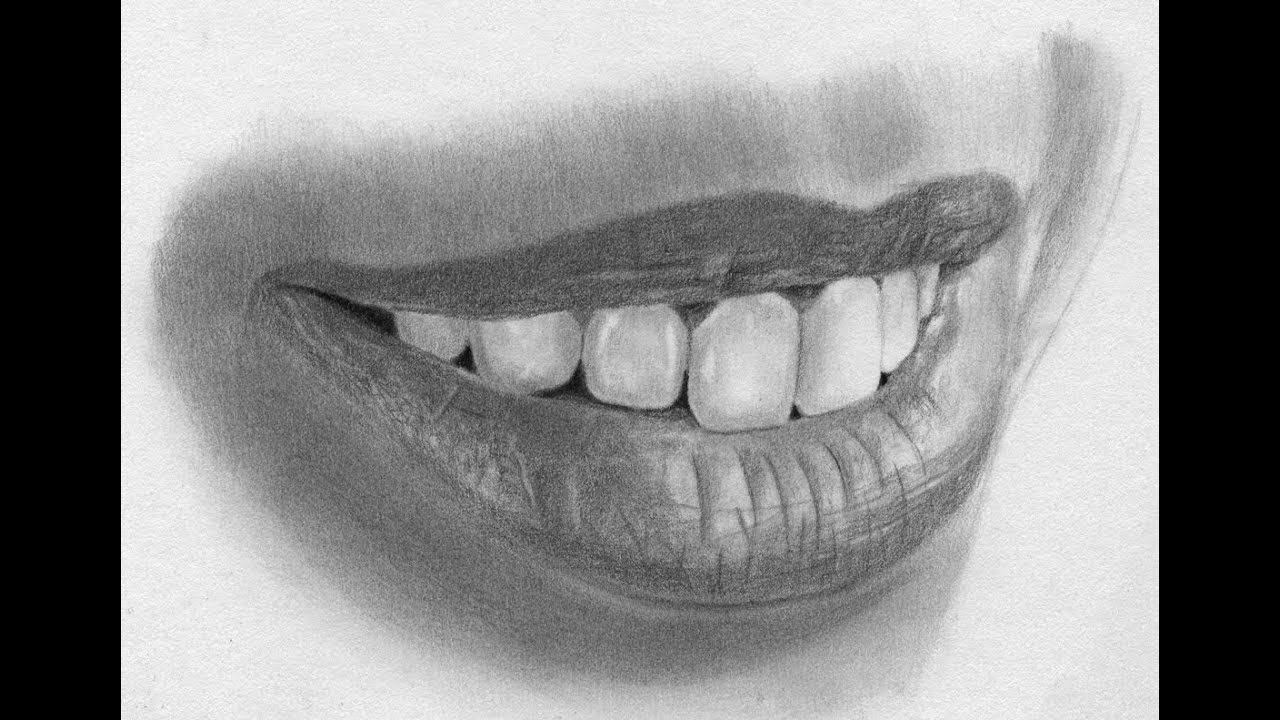 image free library Speed realistic lips and. Drawing tooth pencil