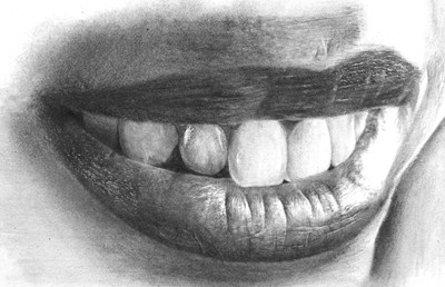 clip art freeuse Realistic mouth and teeth. Drawing tooth pencil