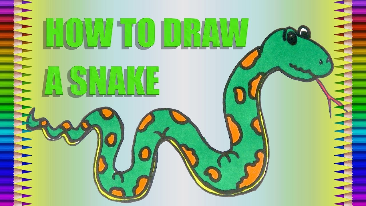 picture freeuse library How to draw a. Drawing snake colour