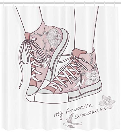 picture royalty free download Lunarable shower curtain shoes. Drawing sneakers cute