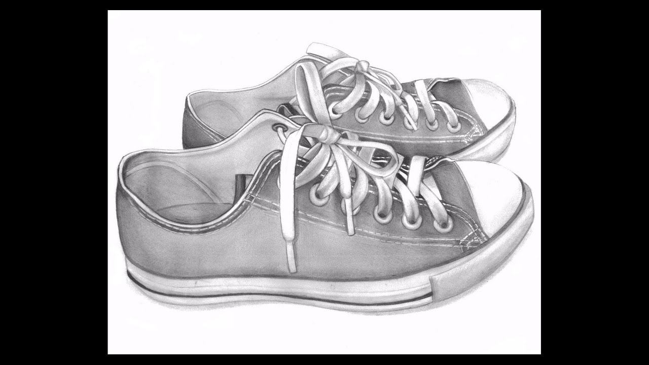 picture transparent stock Realistic d shoes with. Drawing sneakers pencil