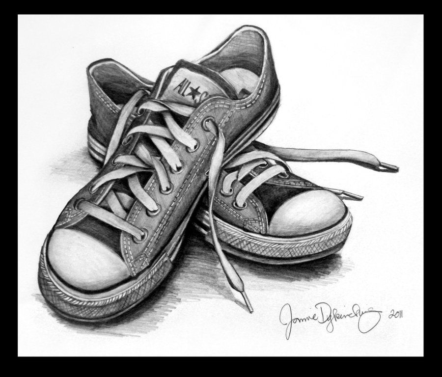clip library download Easy still life shoes. Drawing sneakers pencil