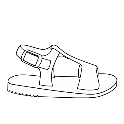 clip stock Collection freshly picked sandals. Drawing sneakers sandal