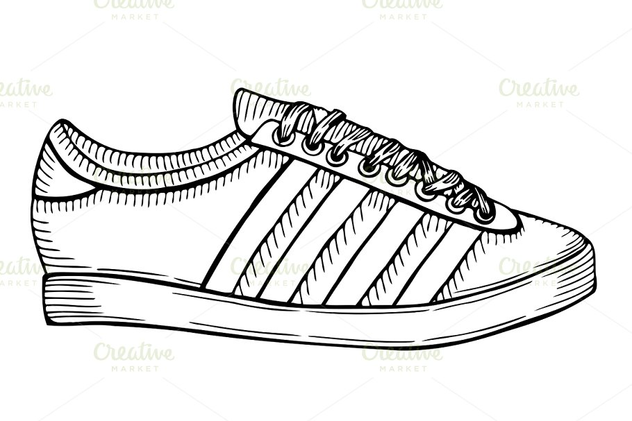 png free download Hand drawn sketch of. Drawing sneakers sport shoe