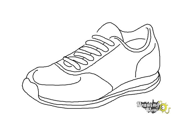clip transparent stock Drawing sneakers sport shoe. How to draw running