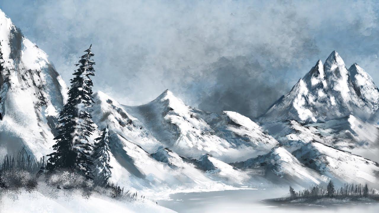 jpg free library Drawing snow mountain. Procreate ipad pro landscape