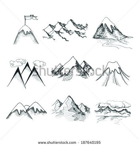 jpg royalty free library Hand drawn ice tops. Drawing snow mountain