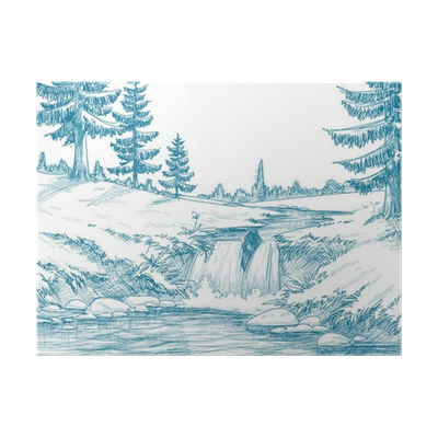 clipart stock Mountain river poster pixers. Drawing snow pencil