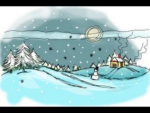 picture stock Drawing snow scene. How to draw a