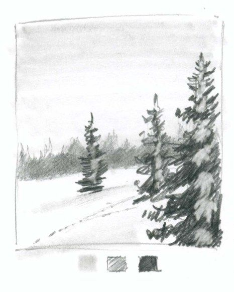 picture black and white Drawing snow tree. How to draw on