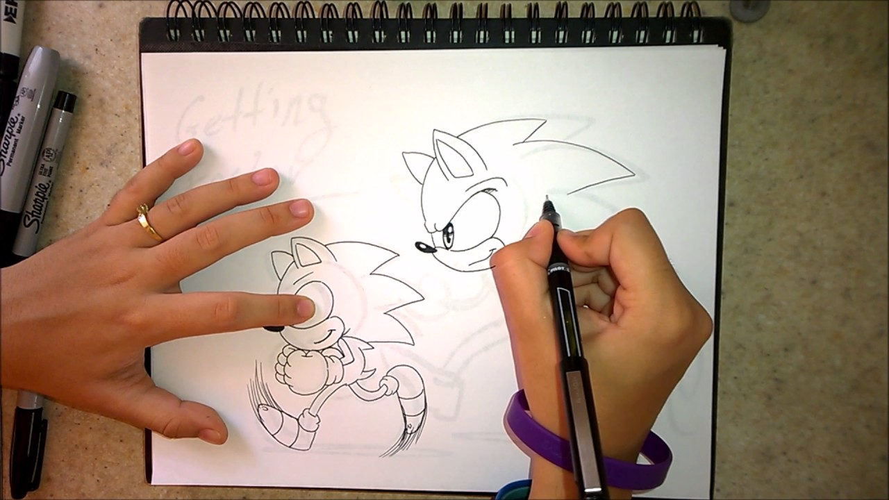 png black and white download Drawing sonic modern. How to draw classic