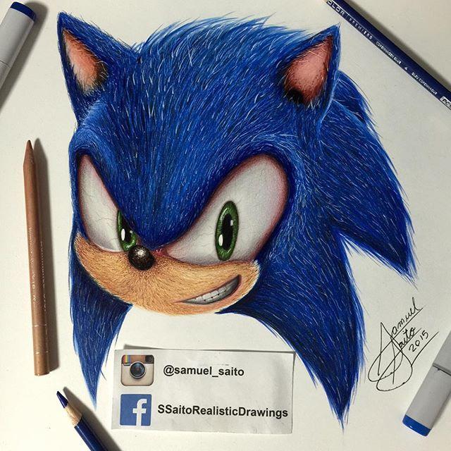black and white Drawing sonic realistic. Sega arts help artfido