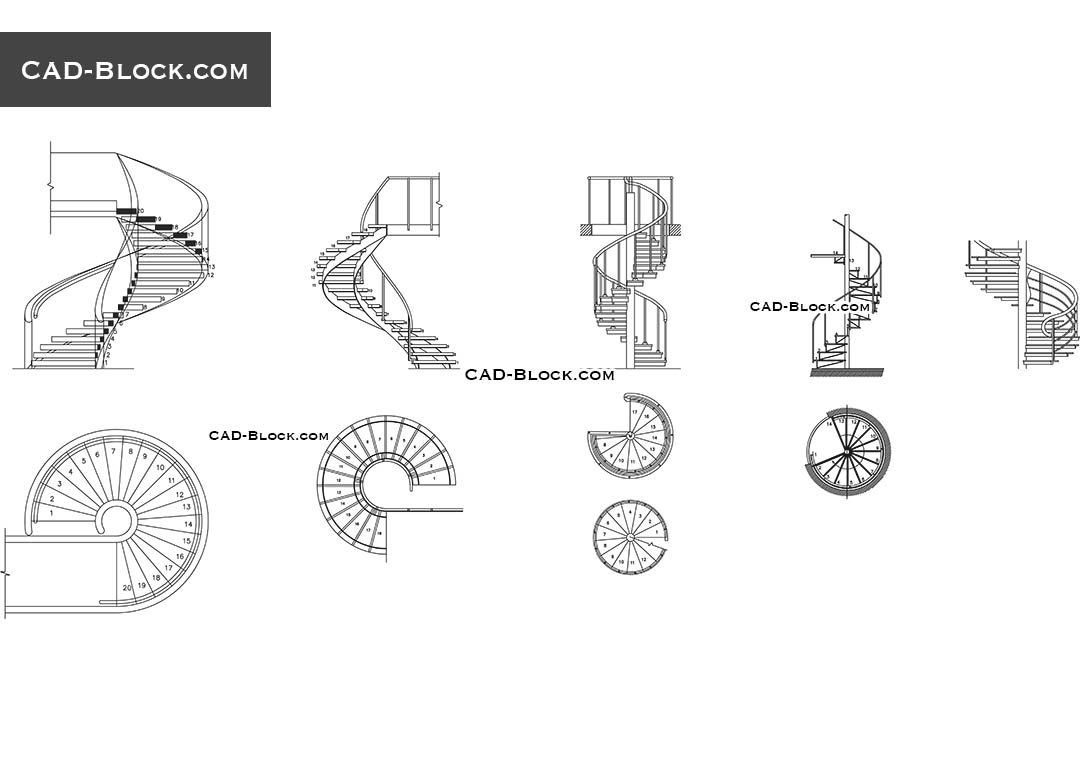 banner free download Spiral stairs CAD Block free download