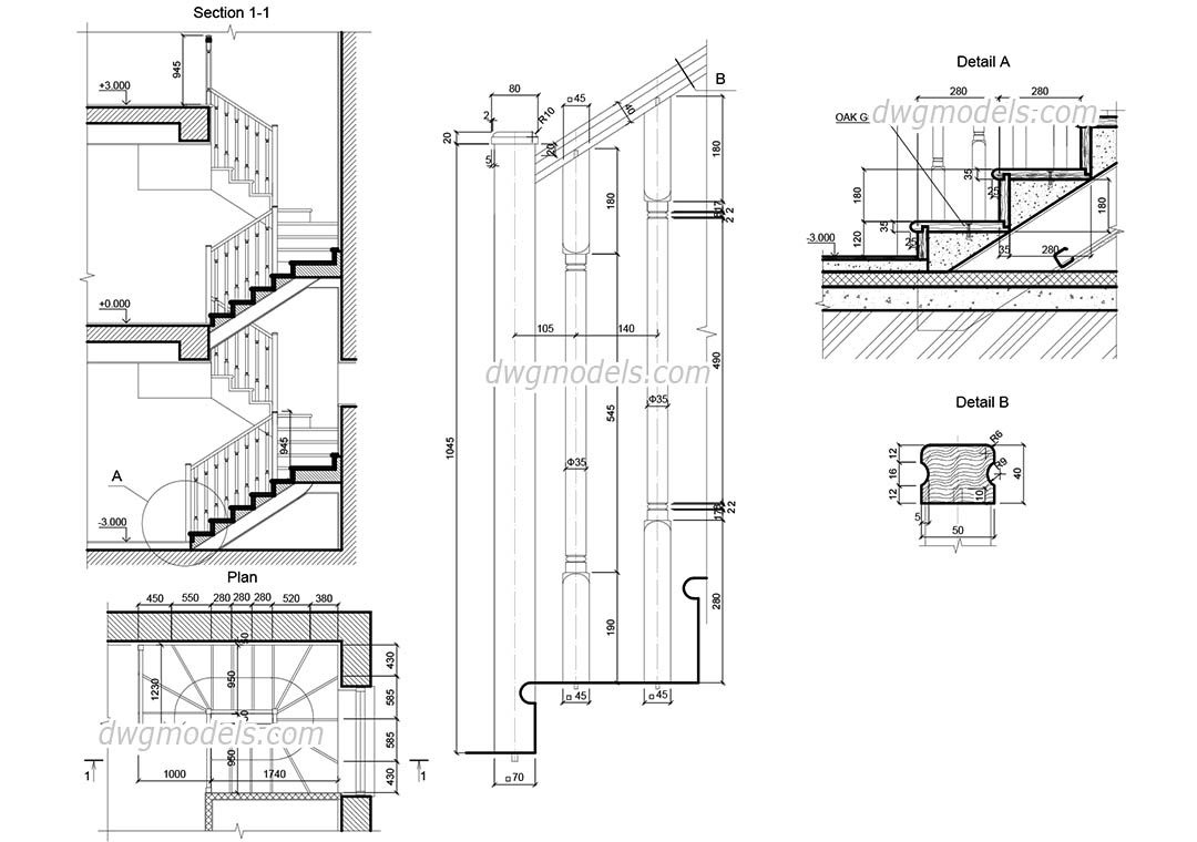 picture freeuse Wooden Staircase AutoCAD drawings free download