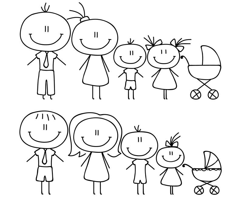 clip art royalty free library Figures digital file silhouette. Drawing stick family