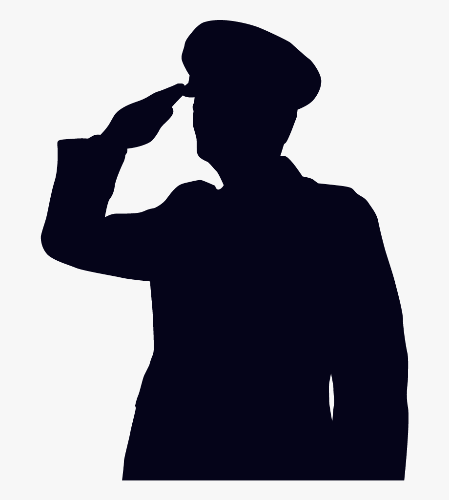 jpg black and white library Drawing stick military. Soldier salute silhouette png