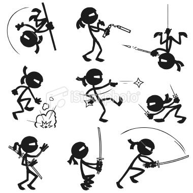 banner black and white library Drawing stick ninja. Stickfigure ninjas in various