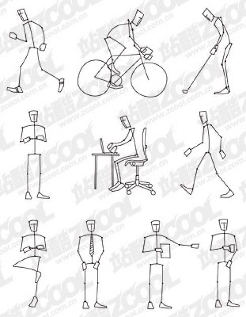 picture freeuse download Drawing stick sketch. Figure style for embroidery