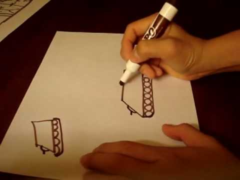 image black and white stock How to draw figures. Drawing stick tank