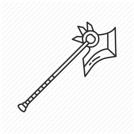 clipart black and white Melee by vectto axe. Drawing stick weapon