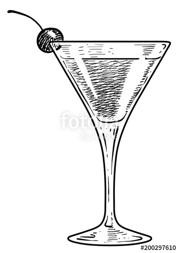clipart royalty free stock Illustration engraving ink line. Drawing sticks cocktail glass