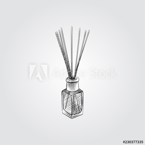 banner black and white library Drawing sticks glass. Bottle with aroma sketch
