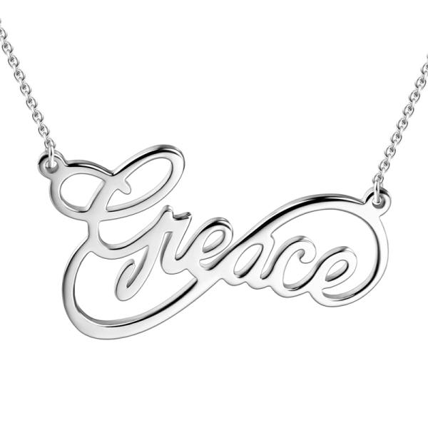 image royalty free library Drawing sticks sterling silver. Infinity name pendant necklace
