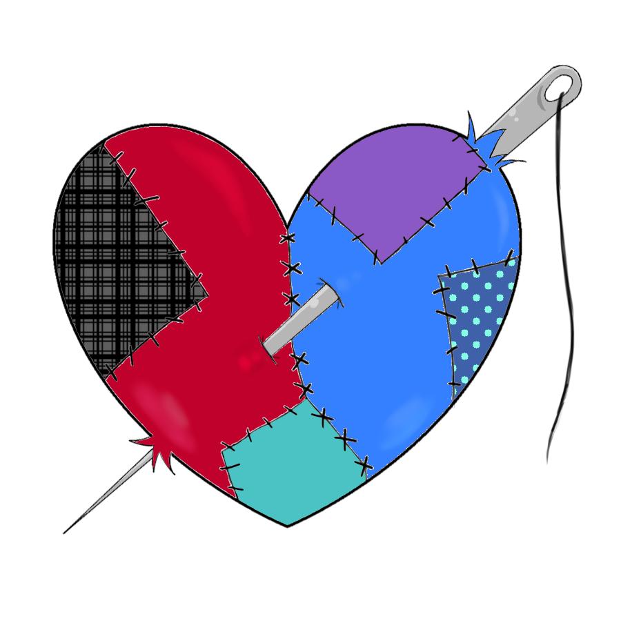 jpg freeuse stock Drawing stitch heart. Stitched by xstitchplush on