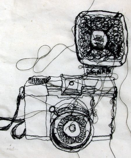 banner black and white library Drawing stitch sewing. Freehand machine embroidery observational