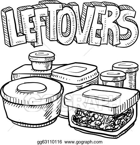 svg stock Drawing storage food. Vector art holiday leftovers