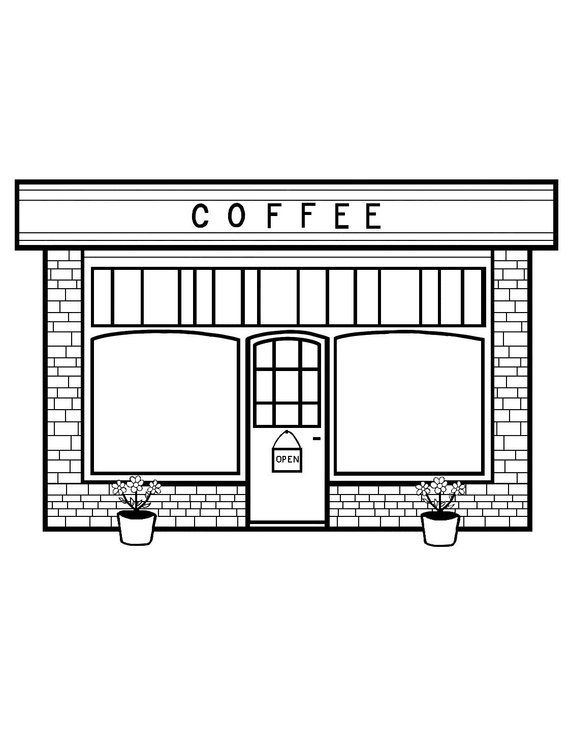 clipart free Drawing store coffee shop. Coloring page products in