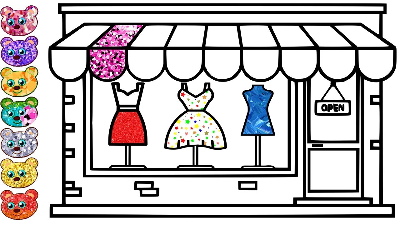 banner transparent download Drawing store dress shop. Glitter clothes and coloring