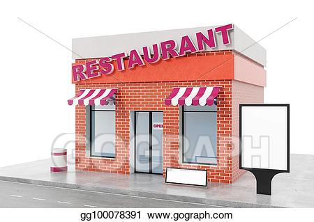 svg freeuse download Restaurant with copy space. Drawing store exterior