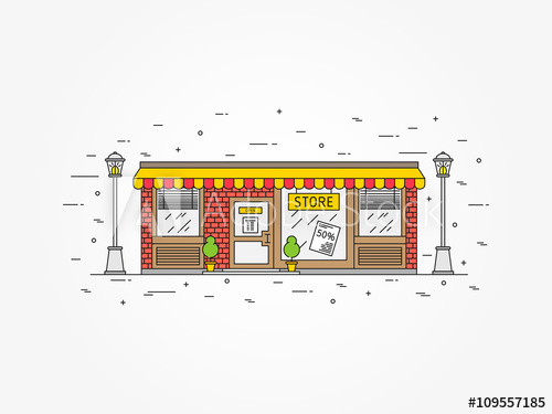 svg royalty free Drawing store exterior. Shop architecture linear vector