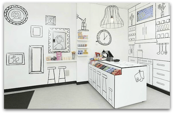 picture transparent Drawing store interior. Design cropped with drop
