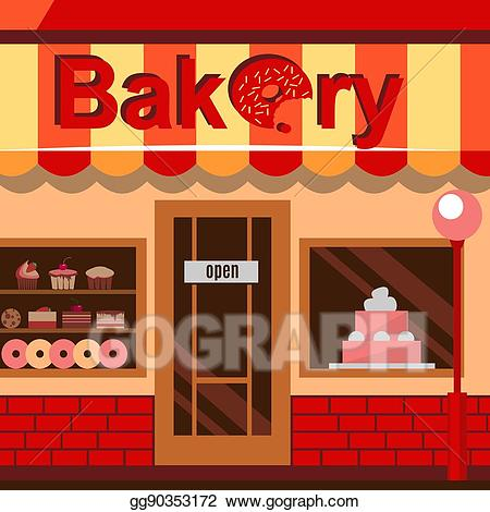 clip freeuse stock Stock illustration bakery building. Drawing store pastry shop