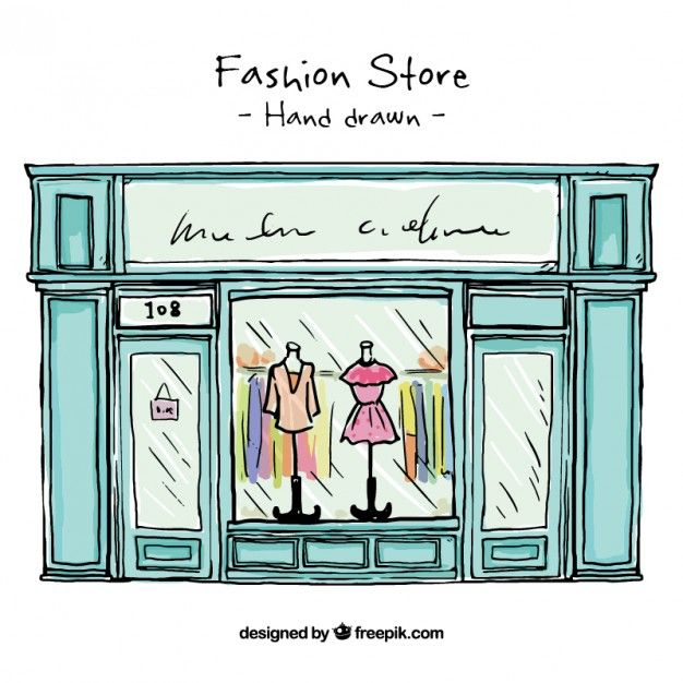 vector transparent Hand drawn fashion free. Drawing store shop window