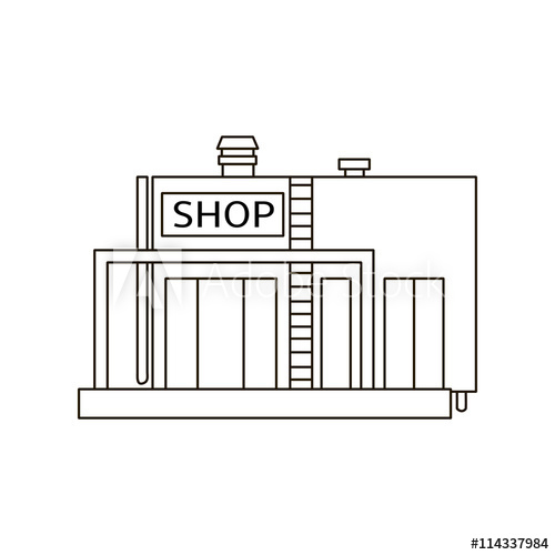 picture transparent download Line building shop icon. Drawing store simple