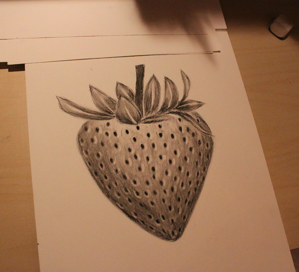 graphic black and white download Strawberry hebatt flickr . Drawing strawberries charcoal