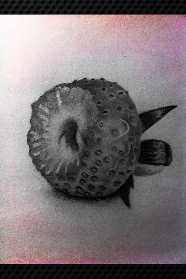 picture black and white stock Bitten strawberry graphite art. Drawing strawberries charcoal