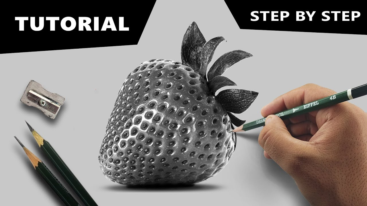 free stock Drawing strawberries charcoal. Draw hyperrealistic strawberry step