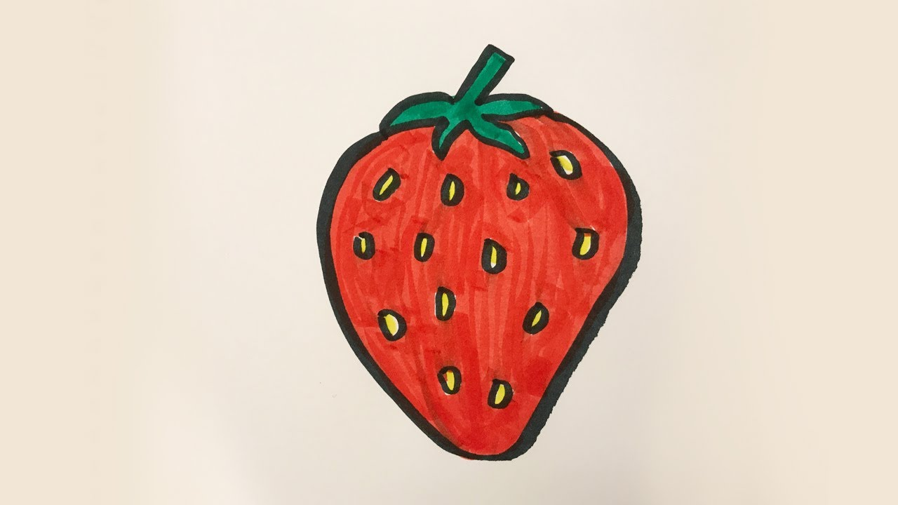 vector free stock Drawing strawberries colour. How to draw and