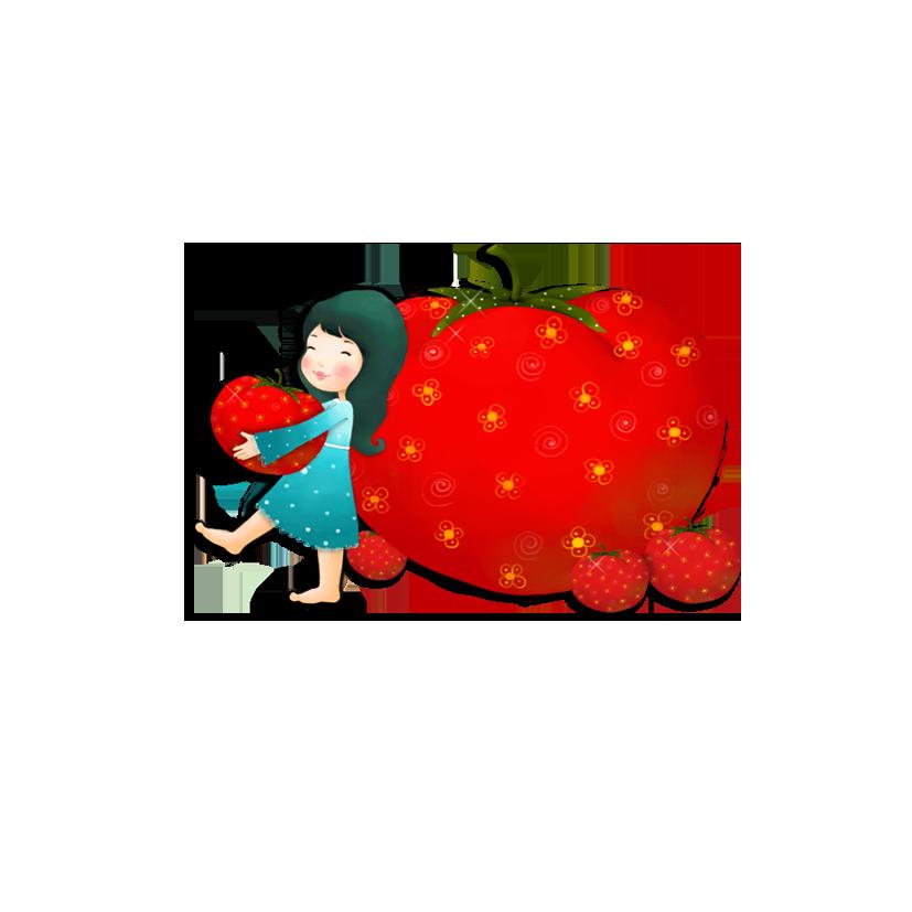 clip art free library Cartoon tomato little girl. Drawing strawberries illustration