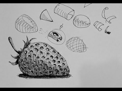 picture stock Drawing strawberries ink. Pen tutorials how to