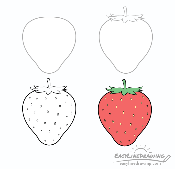 png free stock How to draw a. Drawing strawberries step by