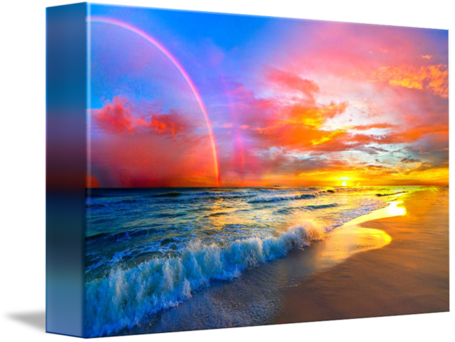 black and white download pink sunset beach with rainbow and ocean waves by Eszra Tanner