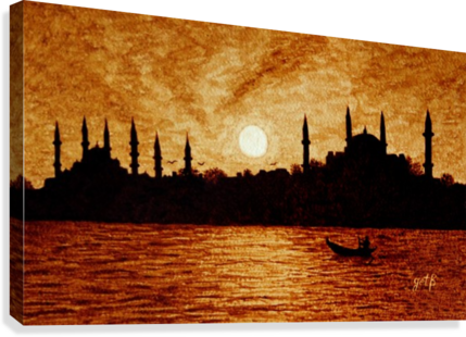 png royalty free download Sunset Over Istanbul Original Coffee Painting