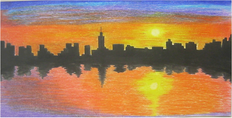 free library drawing sunsets colored pencil #95687983